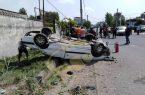 واژگونی خودرو در لشت نشا سه مصدوم برجای گذاشت+ تصاویر